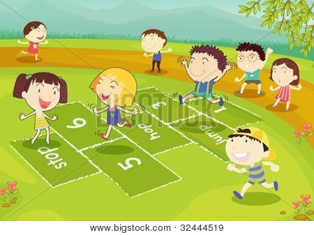 Ground of friends playing hopscotch in the park