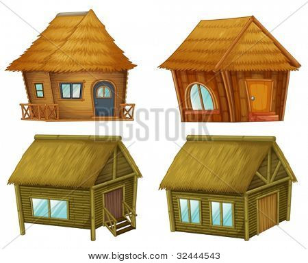 Wooden cabins on a white background