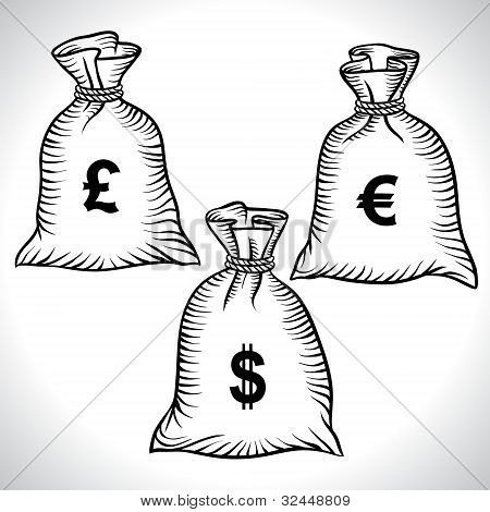 Money bags with dollars, euro and pound. Vector.