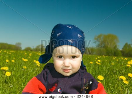 Boy On Meadow With Dandelion