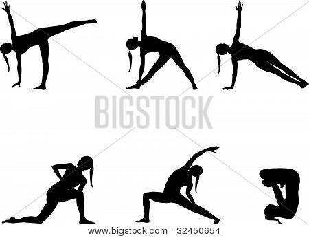 Yoga Series Silhouettes On White