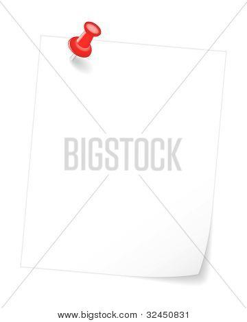 Cubrió la nota de papel en blanco. Ilustración de Vector