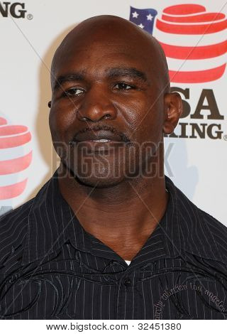 BEVERLY HILLS, CA. - APRIL 24: Boxing legend Evander Holyfield arrives at the USA boxing benefit at the Paley Center for the Media on April 24 2012 in Beverly Hills.