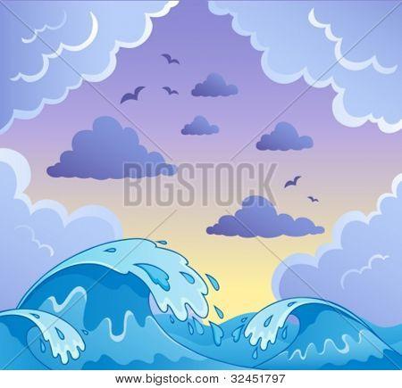 Wellen Thema Bild 2 Vektor-Illustration.
