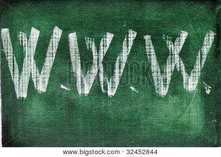 www abbreviation for world wide web written with chalk on a chalkboard