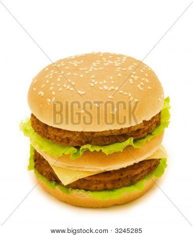 Double Burger On White Background