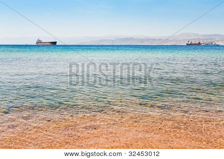 View On Israel Mountain Through Red Sea From Aqaba Port