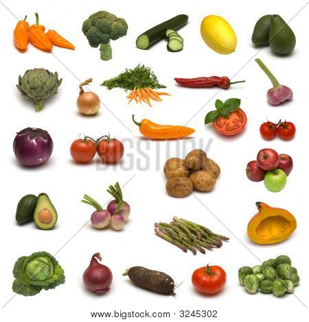 Large Page Of Vegetables And Fruits
