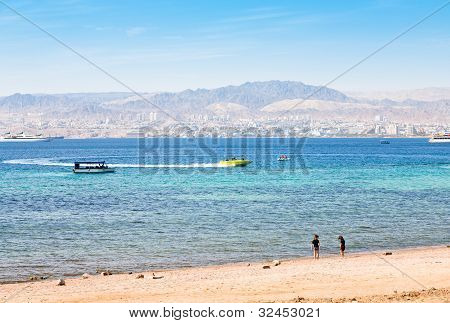 Municipal Aqaba Beach And View On Eilat Town