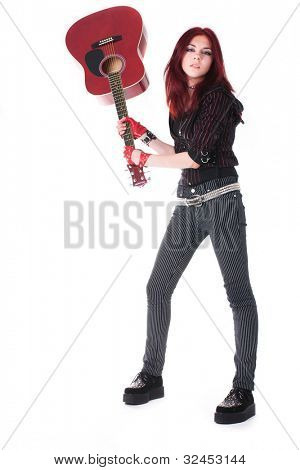 girl nonconformist with guitar isolated