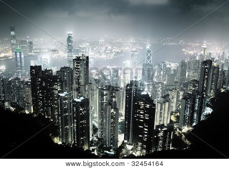 Hong Kong island from Victoria's Peak at night