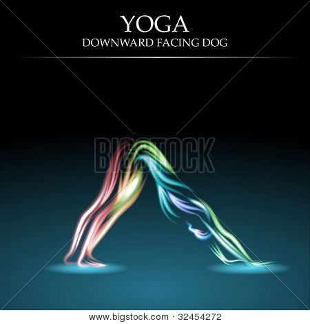 Yoga Pose, Downward Facing Dog, Eps10 Vector
