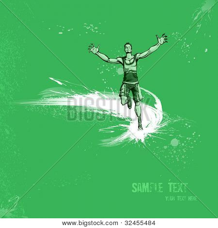 illustration of winning runner on abstract grungy background
