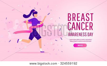 poster of Breast Cancer Awareness Illustration Concept Of Running Sport Or Charity Run With Young Girl Running