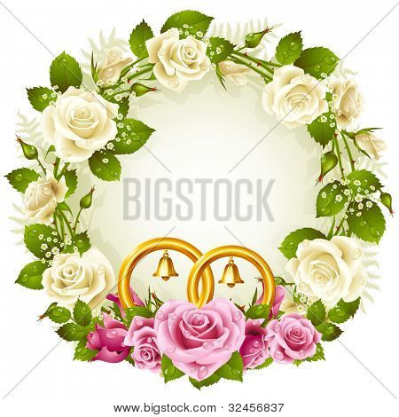 Flower frame. Vector white and pink rose and golden wedding rings