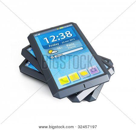 modernen Touchscreen Smartphones, isolierte 3d render
