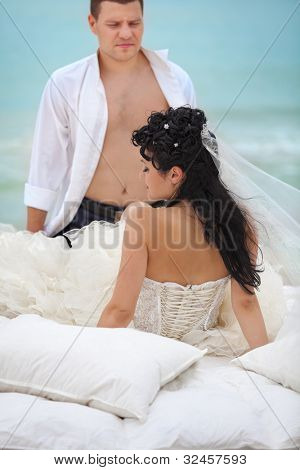 Wedding shot of sexy passion between bride and groom