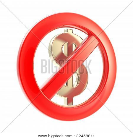 No cash sign as crossed dollar symbol