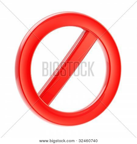 Not allowed forbidden sign isolated on white