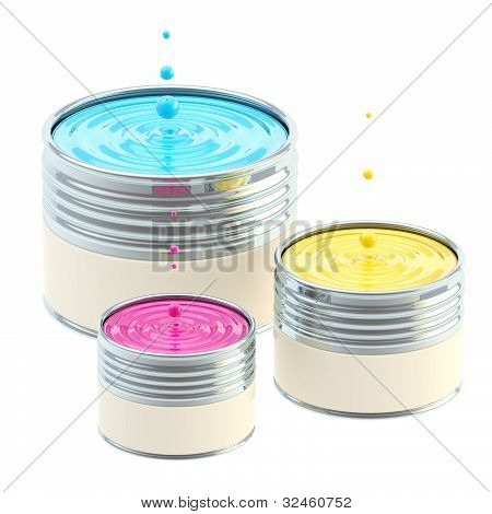 CMYK colored buckets of paint isolated