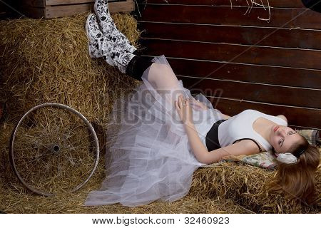 bride is wearing rubber boots