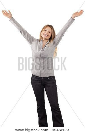 Happy Woman With Arms In The Air