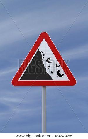 """Falling Euro""Conceptual Warning Sign"