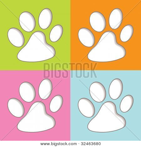 Bright fun colourful animal print icons with shadow