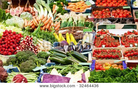 Fresh Vegetables On A Market Place