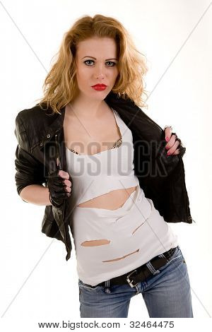 woman in a leather jacket and a fragmentary vest. Isolated on white