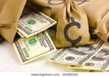 Bags with money close-up isolated on white