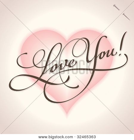 'love you' hand lettering (vector)