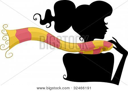 Silhouette of a Girl Wearing a Scarf