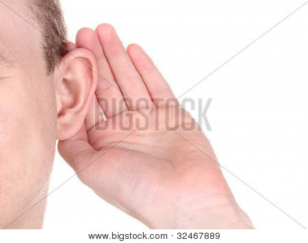 Human ear and hand close-up isolated on white