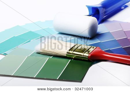 Close up of pantone color palette and other stuff