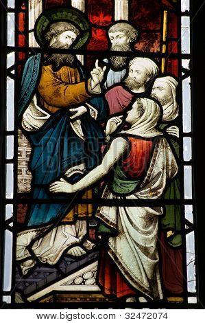 Jesus Preaching stained glass window