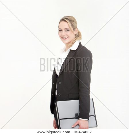 Smiling Business Woman Holding Gray Bag