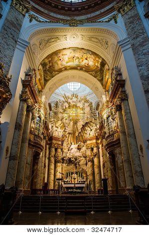 Altar At St. Charles Church (karlskirche) In Vienna