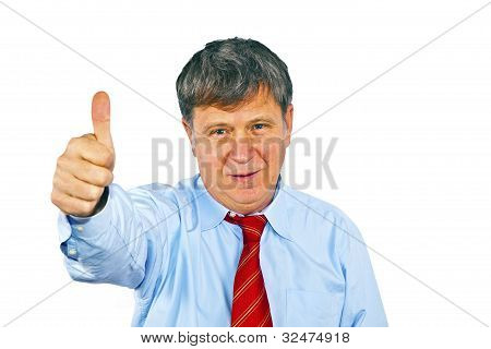 Businessman Gesturing With Hand, Isolated On White