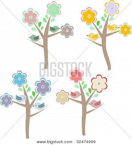 Birds Sitting On Trees. Seasons - Spring, Summer, Autumn, Winter