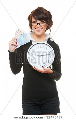 Studio Bild Smiley Frau mit Zeit und Geld. isoliert auf weiß