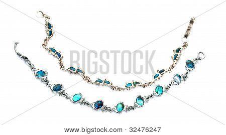 Two Silver Blue Bracelets