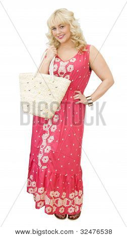 Beautiful Blonde Woman With Straw Bag