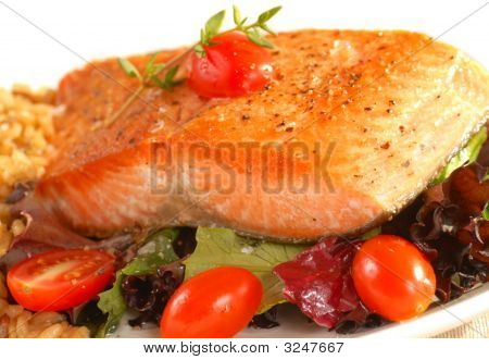 Sauted Salmon On Brown Rice And Greens