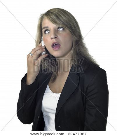 Cute Blonde Girl Talking At Mobile Phone