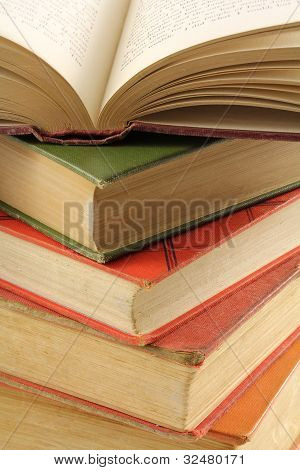 Stack of Multi-colored Old Books