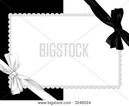 Picture Border-White And Black Whit  Silk Bow