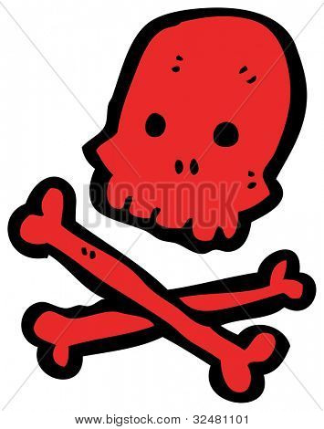 cartoon skull and crossbones