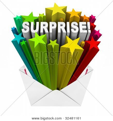 The word Surprise bursts with a bunch of colorful stars out of an open envelope to announce an unpredictable, fun, surprising announcement or message