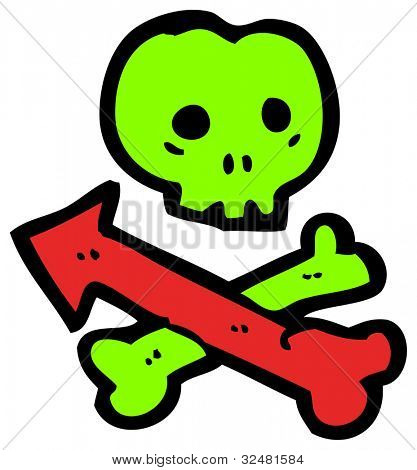 cartoon skull and crossbones with arrow